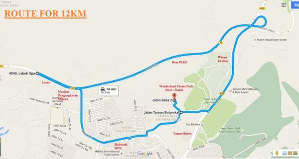 Laluan 12 kilometer bagi larian Melaka Heritage City Run 2016