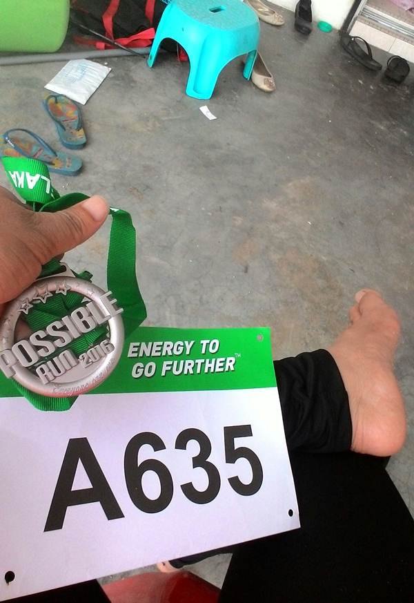 Medal dan Bib yang diperolehi dalam Malacca Possible Run