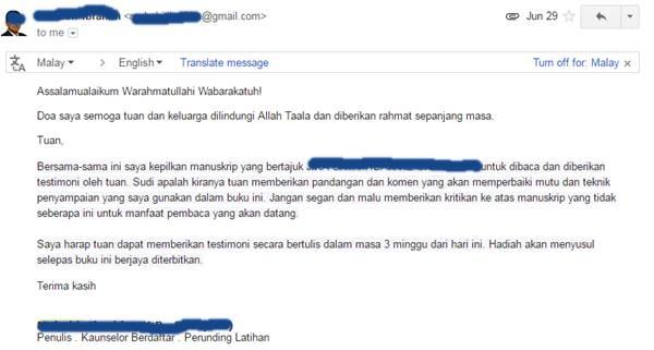 Emel yang diterima pada 29 Jun 2016